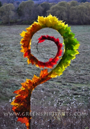 GreenSpirit Arts - Autumn Leaf Staff Spiral