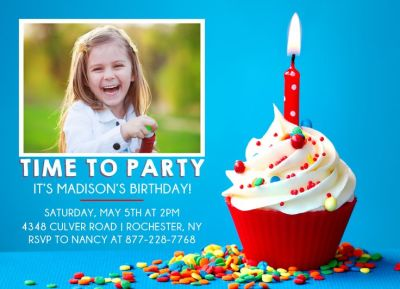 Birthday Party Invitation CatPrint Design #306