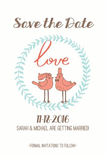 Wedding Save the Date Card CatPrint Design #346