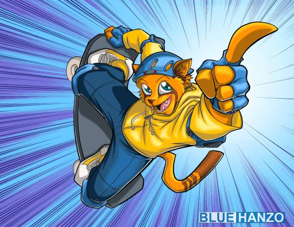 """Skate Cat"" by Blue Hanzon"